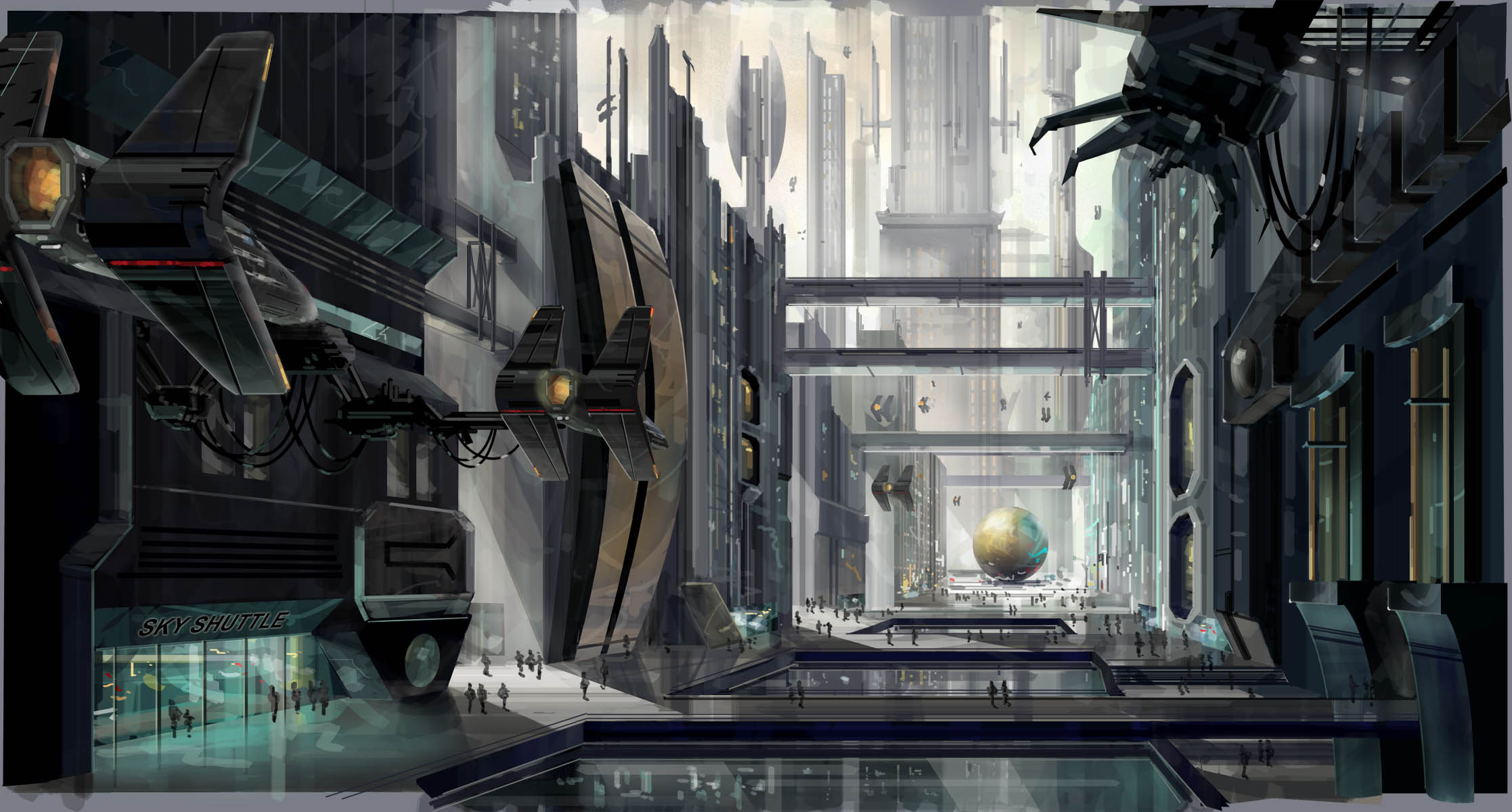 Conceptual illustration Future City, Hollywood, CA